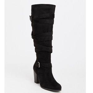 TORRID black strappy high heel boot size 11 wide
